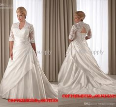 Plus size A line wedding dresses ivory satin applique lace V neck with half long sleeves chapel train lace-up back bridal gowns 1206