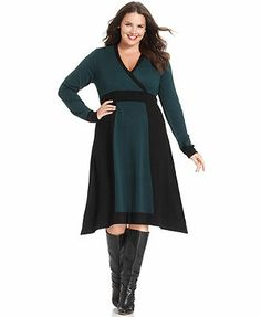 Alfani Plus Size Dress, Long-Sleeve Colorblocked Sweater
