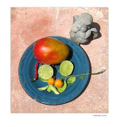 Blue Plate Mango & Angel by Debra Cortese