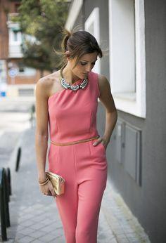one shoulder pink jumpsuit