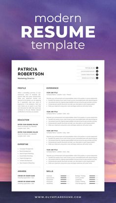 The modern resume template Patricia is designed to showcase your skills and experience in a professional and effective way. The layout is optimized for building a resume that is informative, visually attractive and easy to navigate. Includes resume, cover letter and references templates, extra social media and contact icons, and a detailed user guide. #resume #resumetemplate #resumedesign #cv #cvtemplate #cvdesign #job #jobsearch #career #careeradvice One Page Resume Template, Modern Resume Template, Creative Resume Templates, Cover Letter For Resume, Cover Letter Template, Letter Templates, Cv Words, Resume References, Microsoft Word 2007