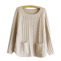 $13.66 Retro Style Solid Color Pullover Cable Knit Sweater For Women