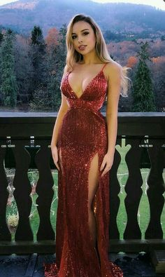 Prom Dress Princess, Mermaid Spaghetti Straps Floor-Length Dark Red Sequined Prom Dress with Split Shop ball gown prom dresses and gowns and become a princess on prom night. prom ball gowns in every size, from juniors to plus size. Sexy Dresses, Cute Dresses, Beautiful Dresses, Evening Dresses, Fashion Dresses, Formal Dresses, Party Dresses, Dress Party, Formal Wear