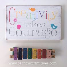 Creativity Takes Courage  Typography Word Art by barnowlprimitives, $85.00
