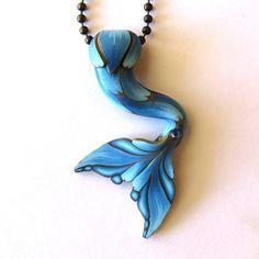 Blue Mermaid Tail Necklace Mermaid Jewelry Polymer by Claybykim