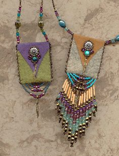 Suede bags - fine beadwork by Heidi Kummli. It says suede bags, but wool felt would work too.