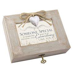 Grandma My World Love and Joy Distressed Wood Jewelry Music Box Plays Tune Wind Beneath My Wings