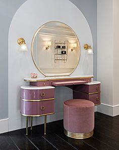 """It pays homage to unconvential feminity and irresistible charisma of the author's wife and muse of """"The Great Gatsby"""", this vanity table revisits the classic bedroom dresser in a contemporary vein. Dressing Table Design, Art Deco Dressing Table, Bedroom Dressing Table, Dressing Table Vanity, Dressing Tables, Devon Devon, Bedroom Dressers, My New Room, Wood Doors"""