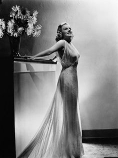 heavenly sheer dress. Jean harlow in her last movie Saratoga, starring Clark Gable and her. Sadly she didn't even make it to the end of the filming. The movie had to be finished without her :(