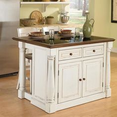 Monarch 3-pc. Kitchen Island with Granite Top and Counter Stools Set, White