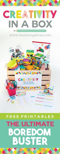 This is such a GREAT idea - Creativity in a Box Boredom Buster! Fun and creative activities for kids with FREE printables!!!