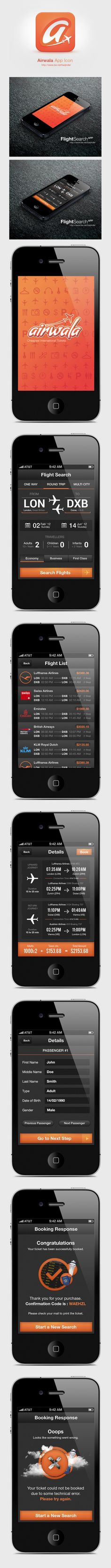 """Flight Search App - Airwala, via Behance *** """" I designed the complete UI and UX for Airwala.com . Project duration was about 1 month and I am quite satisfied with the output, and so is my client. """" Barjinder Singh"""