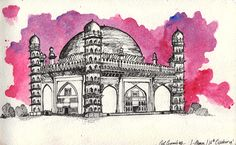 OL GUMBAZ | Inktober Day 11 Watercolour wash and Ink on Moleskine Watercolour Sketchbook This is a quick pen and ink sketch I'm doing of my qualified undergraduate after a long time: of a renowned Indian architectural monument called the Gol Gumbaz/Gol Gumbadh (Meaning : Round). is the mausoleum of Mohammad Adil Shah Sultan of Bijapur. The tomb, located in Bijapur, Karnataka in India, was completed in 1656 by the architect Yaqut of Dabul. http://tmblr.co/ZIoPIn1TIY4Pv
