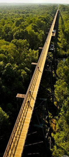High Bridge Trail State Park in Virginia; over 30 miles long; a shared-use trail. Is 2,400 feet long and ranges from 60 to 125 feet high. Was originally made of wood and was used for trains. After the last train crossing in 2004, the abandoned tracks were donated (in 2006) to the state park system, and restored between 2008 and 2012.