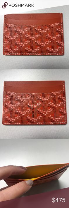 Goyard cardholder Goyard cardholder in color orange. Barely use.  Authenticity: With original box and receipt of purchase. Goyard Bags Wallets