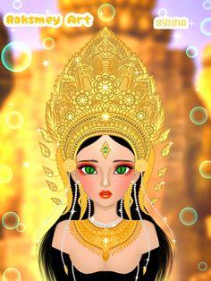 នាងនាគកម្ពុជា Thai Traditional Dress, Traditional Outfits, Khmer Tattoo, Doddle Art, Cambodian Art, Crown Drawing, Mother Art, Chinese Movies, Beautiful Anime Girl