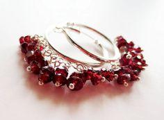 Garnet hoop earrings.  1 inch silver hoops.   by LittleBearsMom