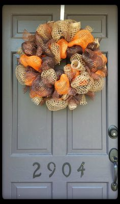 Fall Deco Mesh and Jute Wreath by SouthernThrills on Etsy