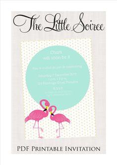 Flamingo Printable Invitation by LittleSoireeDesigns on Etsy, $15.00