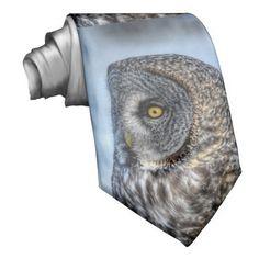 Great Grey Owl Portrait Wildlife-lover Tie