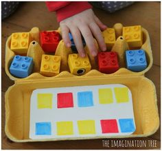 Patterns with legos. Make with separate color cards to change up the patterns. Could use the Candy Land cards