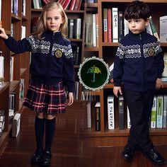 England American winter school uniform for girls&boys kids Sweater skirt baby boy clothes children clothing sets