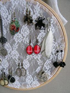 Cadre porte-boucles d'oreilles-DIY Bijoux Diy, Jewellery Display, Craft Fairs, Origami, Coin Purse, Creations, Fabric, Crafts, Tri