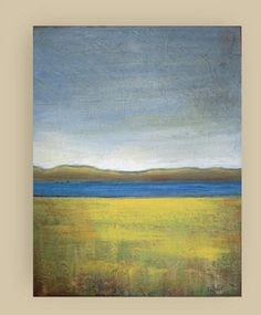 """Autumn on the Lake - Original acrylic painting - abstract landscape painting - canvas 11""""x14 - Vesna Antic- great gift"""