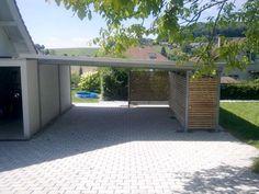 Stalen carport met plat dak tuinaanleg pinterest