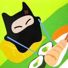 Ninja Mau Plush Pillow  Ninja Cat Pillow  PLUP001  by maustudio, $28.00