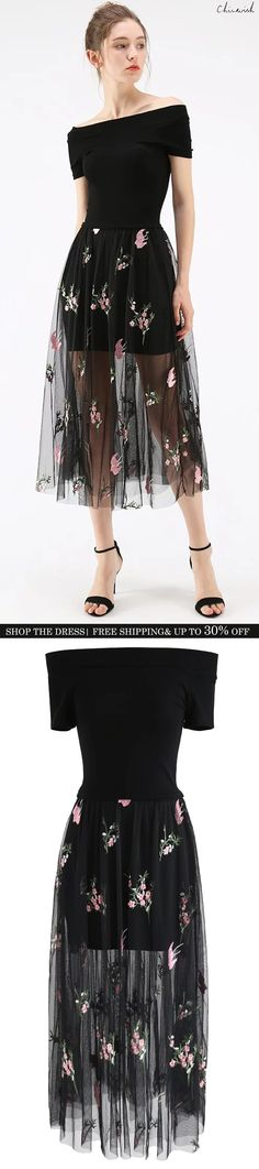 Shop www.chicwish.com and get up to 30% off. Free Shipping  Bring Me Flowers Mesh Embroidered Off-Shoulder Dress