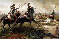 French Lancers engaging the Scot Greys at Waterloo 1815