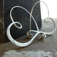 sterling silver heart hoops hammered  endless style by 2TrickPony, $49.00