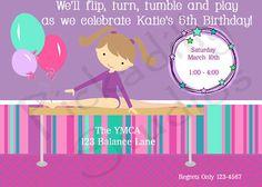 Gymnastics Personalized Birthday Party by PickadillyStudios, $10.00