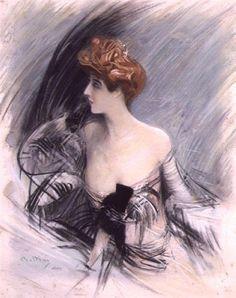 Portrait of Sarah Bernhardt by Giovanni Boldini. Impressionism. portrait
