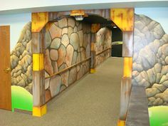 Worlds of Wow - what once was a boring hallway is now an exciting tunnel thanks to our artists! Kids love the theme at Faith Chapel in Billings, Montana. Kids Church Decor, Kids Church Rooms, Youth Rooms, Church Nursery, Church Ideas, Worlds Of Wow, Vbs Themes, Love Decorations, Tunnel Of Love