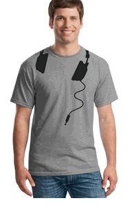 Clever Headphones T-shirt music shirt featuring headphones slung around your neck will soon become your favorite music Tshirt.