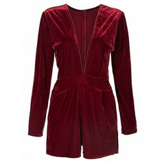 Choies Burgundy Plunge V-neck Long Sleeve Velvet Romper Playsuit ($25) ❤ liked on Polyvore featuring jumpsuits, rompers, red, v neck romper, velvet romper, long sleeve romper, long-sleeve romper and red long sleeve romper