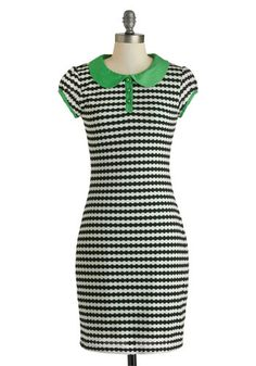 The Diner Things in Life Dress - Mid-length, Green, Black, White, Stripes, Buttons, Peter Pan Collar, Casual, Bodycon / Bandage, Cap Sleeves, Collared, Mod