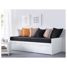 IKEA BRIMNES Day-bed frame with 2 drawers White 80 x 200 cm With some fluffy, soft pillows as back support, you easily transform this day-bed into a comfortable sofa or chaise longue. Cama Ikea, Ikea Daybed, Ikea Beds, Murphy Bed Ikea, Murphy Bed Plans, Lit Banquette 2 Places, Day Bed Frame, Large Cushion Covers, Lit Simple