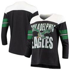 6c4c3c3de Philadelphia Eagles Junk Food Women s Throwback Football Long Sleeve T-Shirt  – Black White