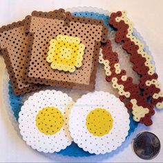 §§ 3D Breakfast Plate perler beads by right2bearcharms