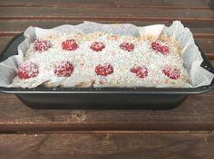 Raspberry coconut loaf- serve spread with cream cheese or Greek yogurt Blw Breakfast Ideas, Tin Loaf, Full Fat Yogurt, Cake Mixture, Yummy Healthy Snacks, Coconut Yogurt, Greek Yogurt, Loaf Cake, Coconut Recipes