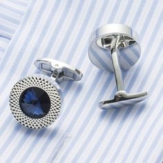 ICEBLUEOR Blue Color Polish Stainless Steel Cufflinks for Gentleman Fathers Day Gift Choince
