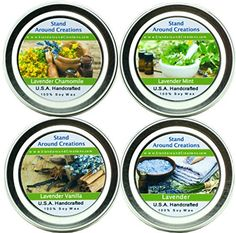 Set of 4 100% All Natural Soy Wax Aromatherapy Candle Tins - Set of four 2oz. lavender candles
