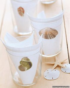 Seashell Napkins - Even if the only water in sight is in a pitcher, you can still bring the feeling of the beach to your table. Iron these vintage shell designs onto your light-colored linens.