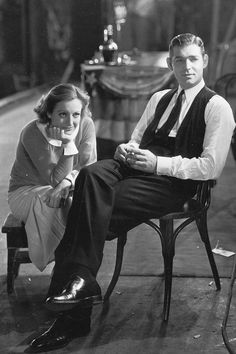 Joan Crawford & Clark Gable on the set of Clarence Brown's Possessed, 1931.    (Source: missavagardner)