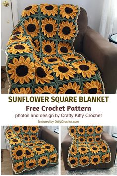 This Sunflower Blanket Is The Perfect Gift To Bring Joy To Someone's Day This Sunflower Blanket Is The Perfect Gift To Bring Joy To Someone's Day Related posts:Crochet Blanket Pattern - Arielle's Square -. Crochet Crafts, Free Crochet, Knit Crochet, Easy Knitting Projects, Crochet Projects, Crochet Blanket Patterns, Crochet Stitches, Knitting Needle Conversion Chart, Crochet Sunflower