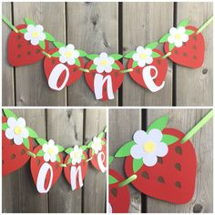 one Strawberry Banner, Strawberry High Chair Banner, Strawberry Cake Smash Banner, Strawberry Birthday banner, Strawberry Photo Prop banner by lilcraftychickadee on Etsy https://www.etsy.com/ca/listing/599821654/one-strawberry-banner-strawberry-high