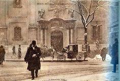 A Ferenciek tere adventi hóesésben 1927. december (Pesti Napló)